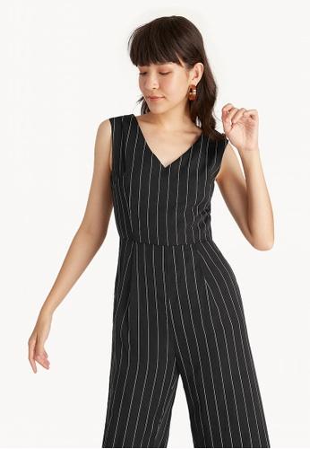 b28f53eb6082 Buy Pomelo Sleeveless Pinstripe V Neck Jumpsuit - Black Online ...