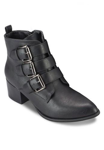 Parkside 三扣環粗跟踝zalora退貨靴, 女鞋, 鞋