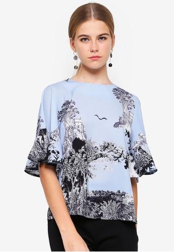 bYSI blue Flutter Sleeve Print Top AFD6CAA641F084GS_1