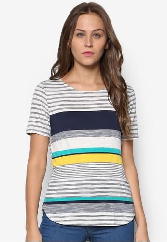 zalora是哪裡的牌子多色條紋TEE, 服飾, 上衣