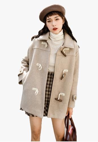 Halo beige Winter Lapel Coat 02570AA8322300GS_1