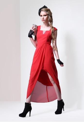 個性都會女孩雪紡紗前短後長長禮服, 服飾,esprit 童裝 派對洋裝