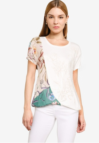 Desigual white Crossed Floral T-Shirt FE834AA5C51381GS_1