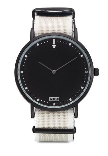 條紋紡織錶帶圓esprit官網框手錶, 錶類, 飾品配件