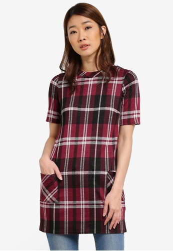 Dorothy Perkins red Check Tunic DO816AA0S4R6MY_1