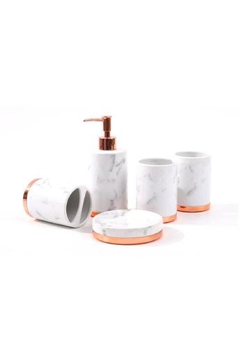 DILAS HOME Rose Gold x Marble Bathroom Accessory Set B1405HLFCB7E5AGS_1
