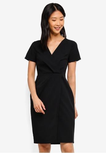 Buy Dorothy Perkins Black V Neck Wrap Dress Online on ZALORA Singapore e7b18f826