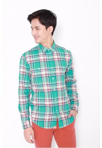 Dockers green Dockers Long Sleeve Wrinkle Twill Shirt Bryant - Baltic A21A2AA6D01D62GS_1