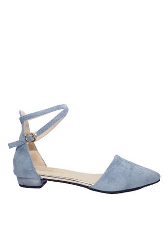Twenty Eight Shoes 藍色 踝帶尖頭小跟鞋 VLC5 3EE9DSHF5F3BDFGS_1