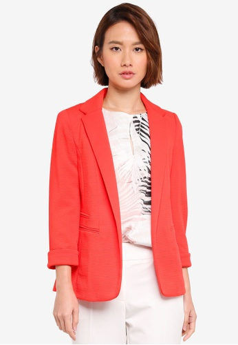 Wallis orange Petite Coral Ribbed Blazer AFF90AACB4A716GS_1