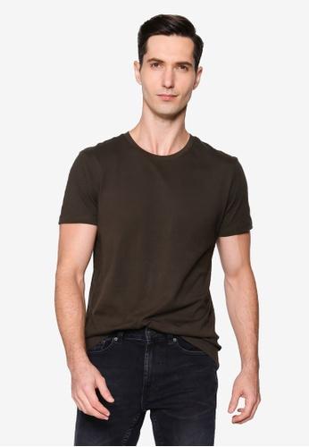Burton Menswear London brown Khaki Organic Cotton Short Sleeve Crew Tee 5CCC8AAB797050GS_1