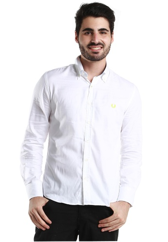 """Fred Perry Green Label white White Long Sleeve Shirt with Neon """"laurel""""  FR595AA76VLVMY_1"""