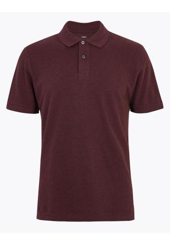 MARKS & SPENCER red M&S Pure Cotton Pique Polo Shirt 2E5D5AA861625DGS_1