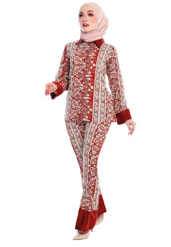 SARIMA brown and red and beige Anggun Casual Wear Modern Muslimah Batik Blouse Palazzo Pants 81B84AA1E80B46GS_1