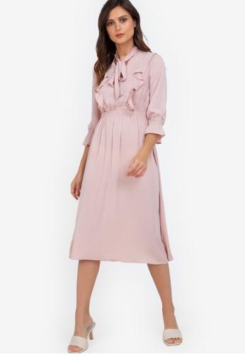 ZALORA WORK pink Frill Detail Midi Dress C40A0AAF210BBFGS_1