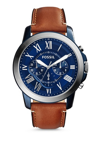 Fossil brown and blue Light Brown/Blue Fossil Grant FS5151 Watch FO313AC64FVJSG_1