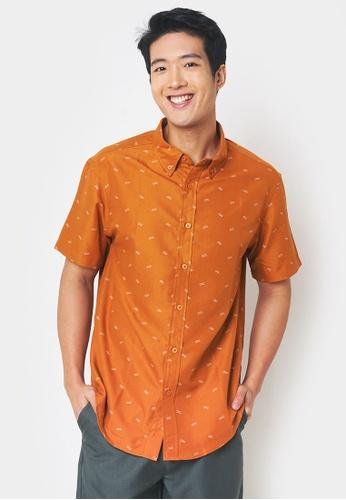 Penshoppe orange All Over Print Relaxed Shirt F4844AAAA40798GS_1