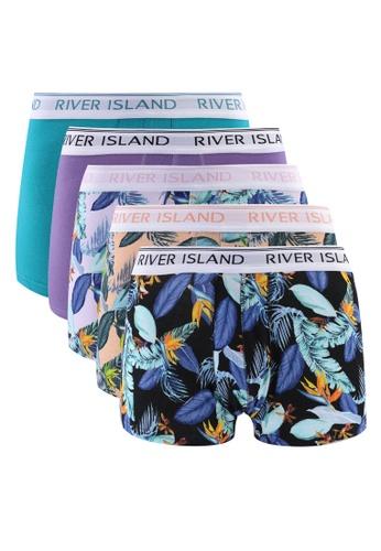 River Island multi Floral Hipster Trunks 5 Pack 5E8C3US9E9A56DGS_1