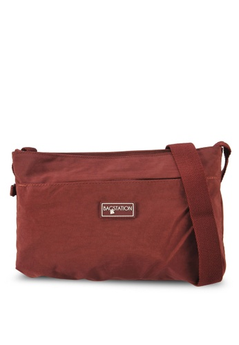 Bagstationz red Crinkled Nylon Multi-Compartment Sling Bag 59EA6ACE7F9220GS_1