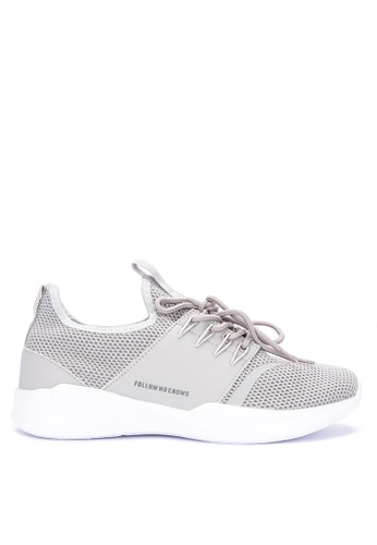 Penshoppe grey Flat Knit Casual Runners 8E1A0SH53E4F46GS_1