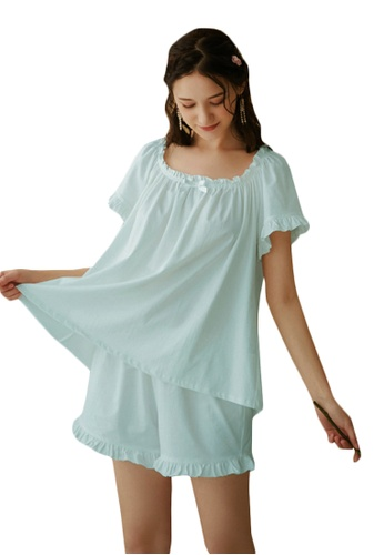 LYCKA blue LML1251-Lady Casual Pajamas Two Pieces Set-Blue 4B05CAAA2F9B96GS_1