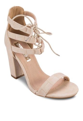 Paramount 多帶綁踝粗跟涼鞋, 女esprit 衣服鞋, 鞋