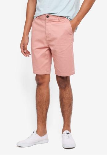 Burton Menswear London pink Hot Coral Chino Shorts 9CFC7AA8457093GS_1