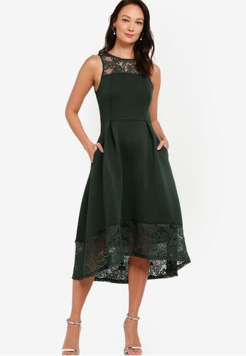 ZALORA OCCASION green Lace Detail Scuba Dress D736EAA835344DGS_1