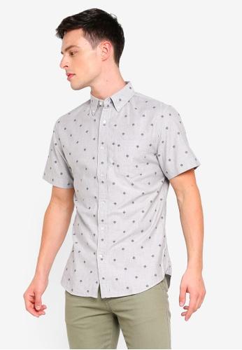 Banana Republic 灰色 Slim Fit Oxford Compass Print Shirt 0ADECAABAFD1C7GS_1