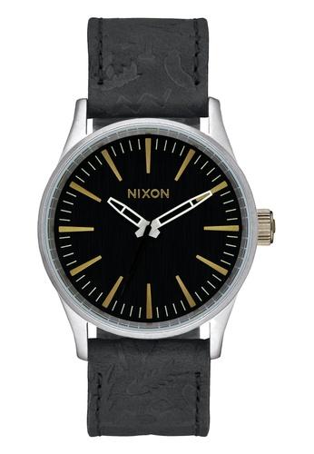 Nixon black Nixon - Sentry 38 Leather Black Watch NI855AC44EBZSG_1
