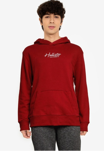 Hollister red Solid Script Popover Hoodie EC230AABE61BAAGS_1