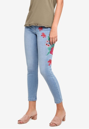 ONLY blue Carmen Embroidered Jeans 7E553AA3258E42GS_1