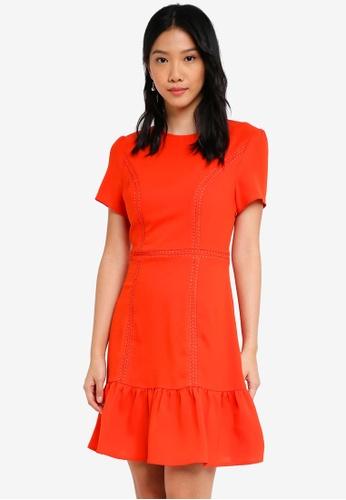 ZALORA orange Shirt Sleeves Dress with Cutout Back Detail F9670AA2DC1795GS_1