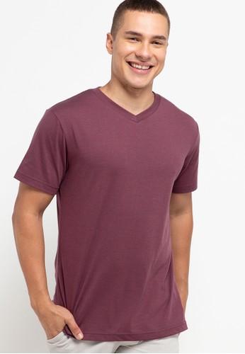 Tolliver purple V Neck Basic Short Sleeve Tee 87FA5AA5F4E4ABGS_1