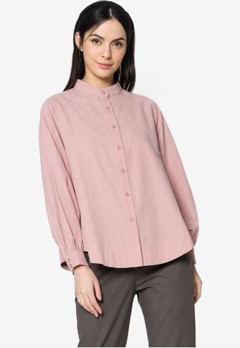 ZALIA BASICS pink Oversize RaglanSleeves Shirt 73F7DAACF17469GS_1