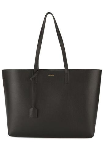 Saint Laurent black Yves Saint Laurent E/W In Supple Leather Tote Bag in Black 260E1AC84C6A37GS_1