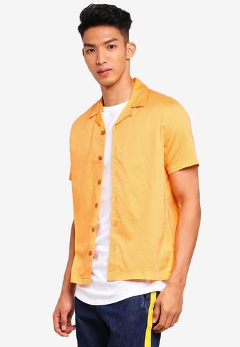 Topman orange Orange Dobby Revere Short Sleeve Shirt 2D047AA92C62B1GS_1