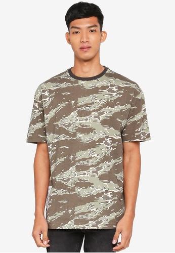 512b3e6ec8124 Buy Topman Khaki Camouflage Oversized T-Shirt | ZALORA HK