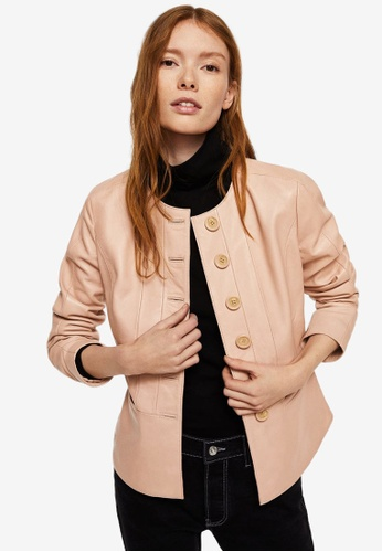Mango pink Buttoned Leather Jacket CEB34AA568186AGS_1