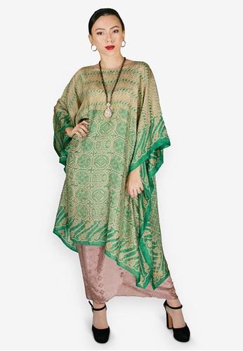 PANGOI green and multi and brown PANGOI Exclusive Batik Kaftan Pario Set with Batwing 55961AA8B1FC73GS_1