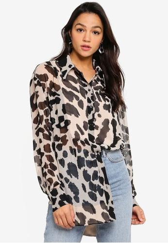 Size 6 Topshop Ladies Leopard Print Long Sleeve Shirt UK