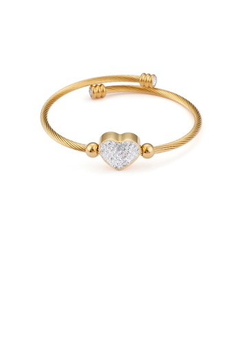 Glamorousky white Fashion Bright Plated Gold Heart-shaped 316L Stainless Steel Bangle with Cubic Zirconia 6CCA1AC2E4CBFAGS_1