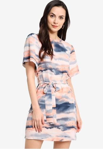 ZALORA WORK multi Flare Sleeves Dress With Self Tie ED276AA5227240GS_1