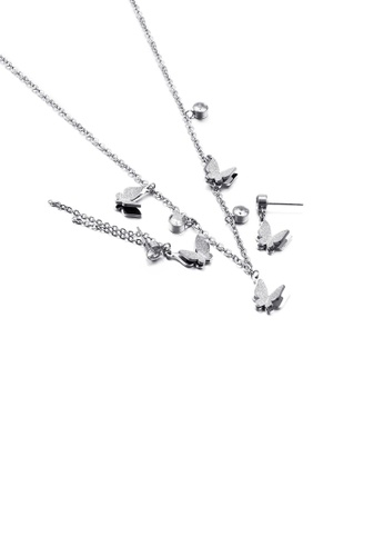 Glamorousky white Fashion and Simple Butterfly 316L Stainless Steel Necklace and Asymmetric Earrings Set with Cubic Zirconia 8280BAC4669F94GS_1
