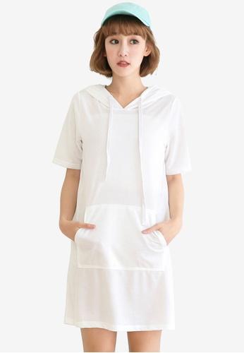 Tokichoi white Hooded Basic Dress E91ADAAE92E8AFGS_1