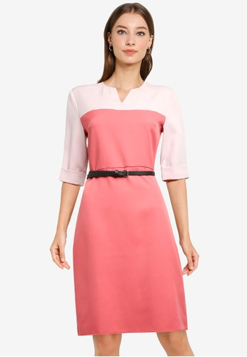 ZALORA WORK multi Notch Neck Colourblock Dress With Belt B4E77AAB4FBCF8GS_1