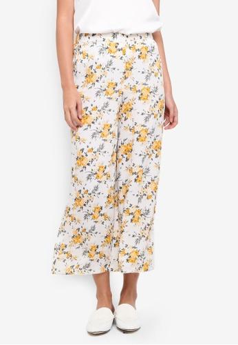 Miss Selfridge beige Floral Print Crop Wide Leg Trousers FC5B3AAD3226D3GS_1