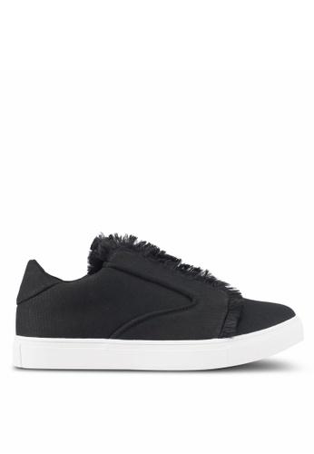 ZALORA black Raw Edge Frills Sneakers D908DSHEE20635GS_1