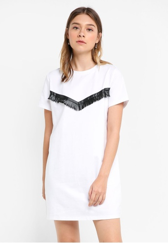 Something Borrowed white Lace Fringe Tee Dress 0B182AA8DA7945GS_1