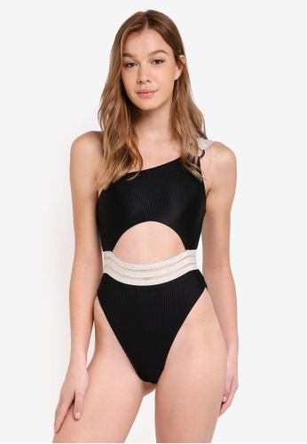 River Island black Rib One Shoulder Elastic Swimsuit DC10BUS6EF8D0CGS_1